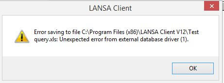 Unexpected error from external database driver