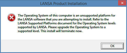 LANSA Product Installation error message