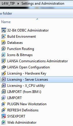 Select Server Licenses from the Settings and Administration folder